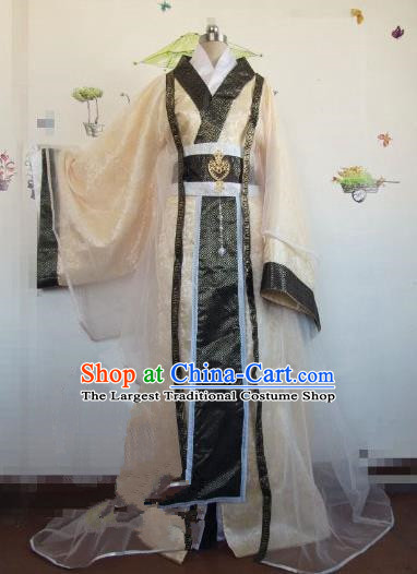 Chinese Traditional Cosplay Royal Highness Costume Ancient Swordsman Golden Hanfu Clothing for Men