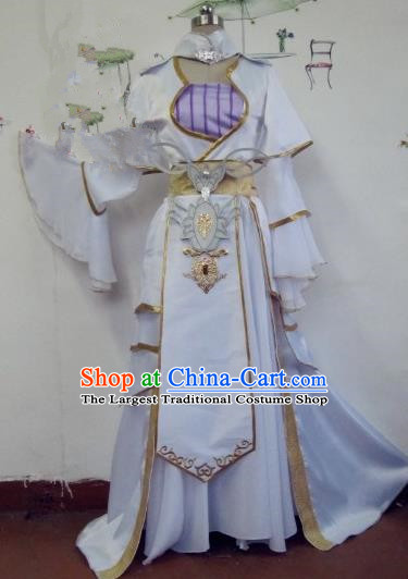 Chinese Traditional Cosplay Apsaras Costume Ancient Tang Dynasty Princess White Hanfu Dress for Women