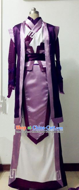 Chinese Traditional Cosplay Prince Purple Costume Ancient Swordsman Hanfu Clothing for Men