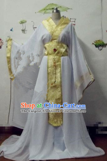 Chinese Traditional Cosplay Prince White Costume Ancient Swordsman Hanfu Clothing for Men