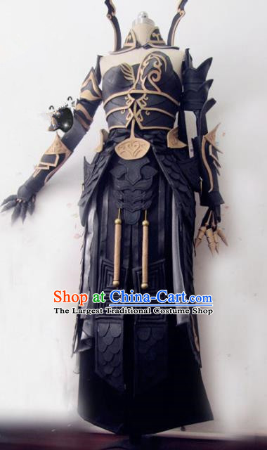 Chinese Traditional Cosplay Female General Armour Costume Ancient Swordswoman Hanfu Dress for Women
