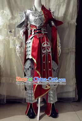 Chinese Traditional Cosplay Swordswoman Body Armour Costume Ancient Female General Hanfu Dress for Women
