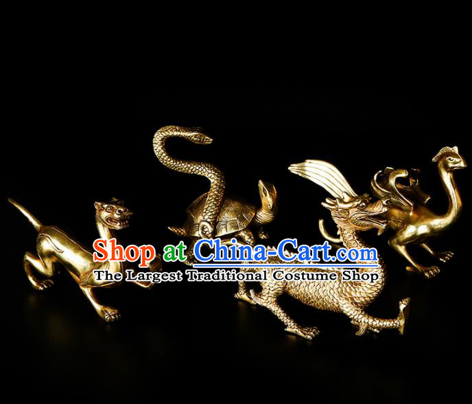 Chinese Traditional Feng Shui Items Taoism Bagua Brass Four Mythical Creatures Decoration
