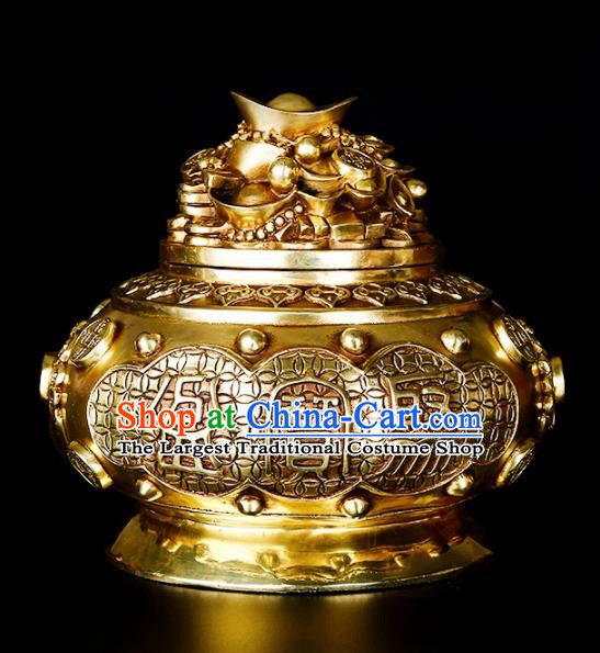 Chinese Traditional Taoism Bagua Brass Ingot Incense Burner Feng Shui Items Censer Decoration
