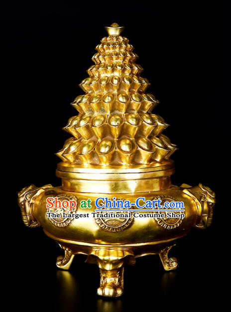 Chinese Traditional Taoism Bagua Brass Wealth Incense Burner Feng Shui Items Censer Decoration