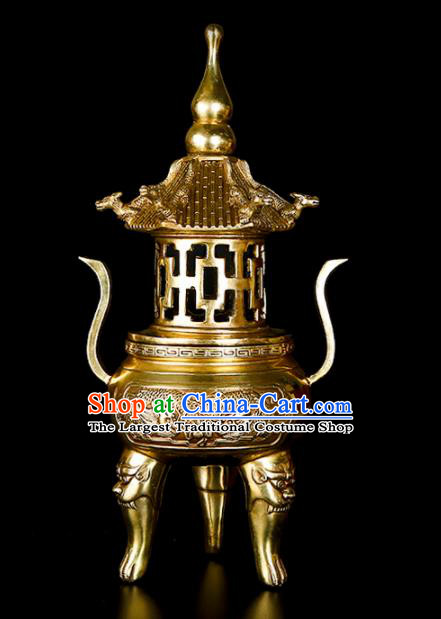 Chinese Traditional Taoism Bagua Brass Incense Burner Feng Shui Items Tower Censer Decoration
