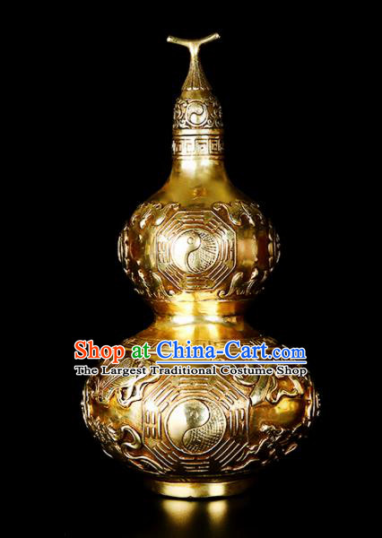 Chinese Traditional Feng Shui Calabash Items Taoism Bagua Brass Cucurbit Decoration