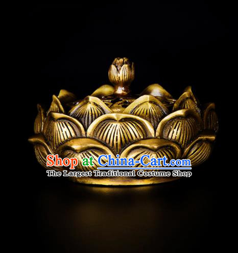 Chinese Traditional Brass Lotus Incense Burner Taoism Bagua Feng Shui Items Censer Decoration