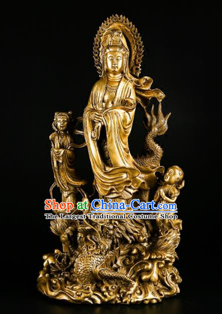 Chinese Traditional Feng Shui Items Buddhism Brass Goddess of Mercy Decoration