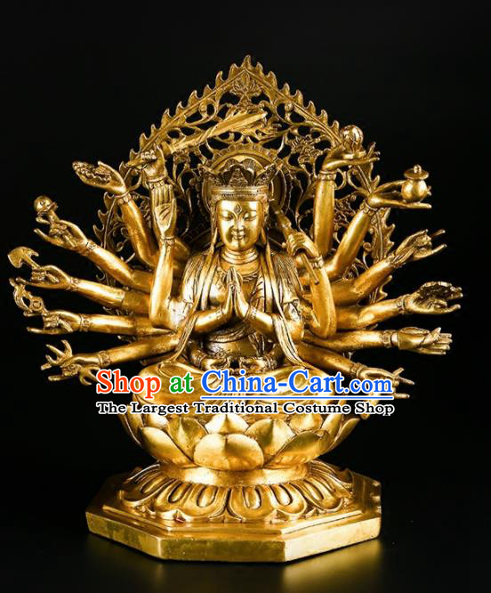 Chinese Traditional Feng Shui Items Buddhism Brass Thousand Hands Bodhisattva Decoration