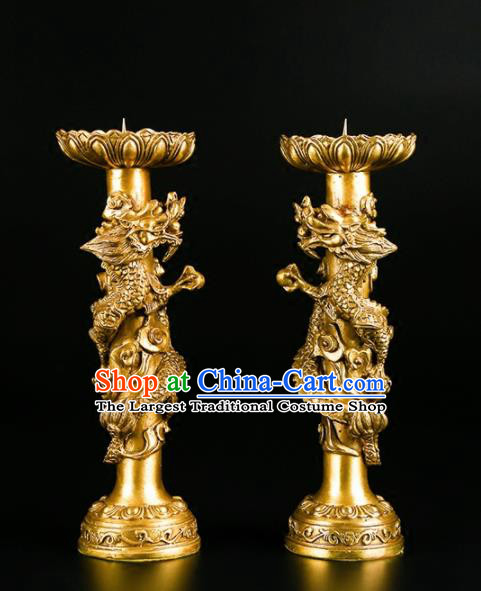 Chinese Traditional Feng Shui Items Buddhism Brass Carving Dragon Candlestick Decoration