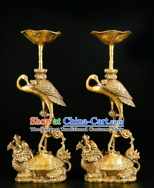 Chinese Traditional Feng Shui Items Buddhism Brass Cranes Candlestick Decoration