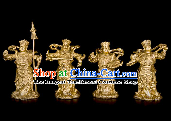 Chinese Traditional Feng Shui Items Bagua Brass Decoration Four Heavenly Kings Bronze Statue