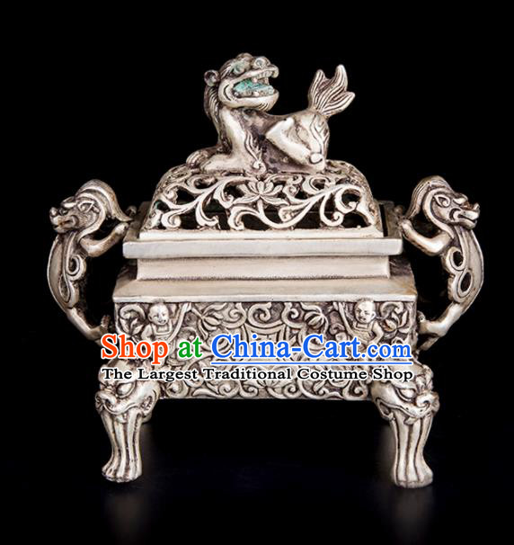 Chinese Traditional Feng Shui Items Bagua Censer Decoration Taoism Argentan Incense Burner