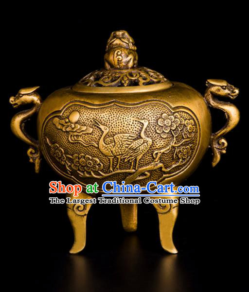 Chinese Traditional Taoism Carving Crane Brass Incense Burner Feng Shui Items Bagua Censer Decoration