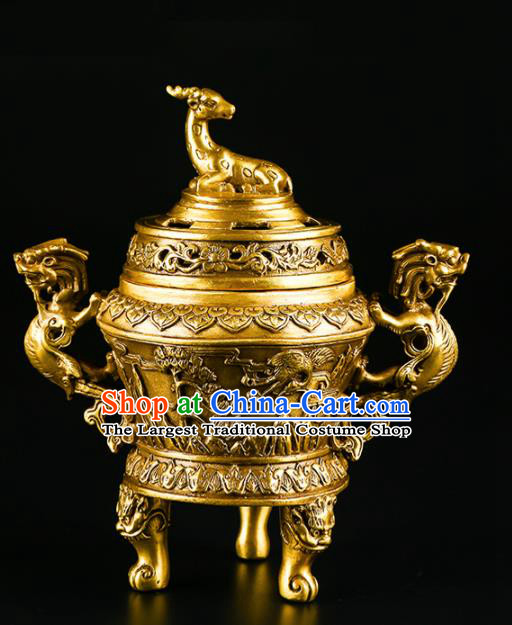 Chinese Traditional Brass Deer Incense Burner Taoism Bagua Feng Shui Items Censer Decoration