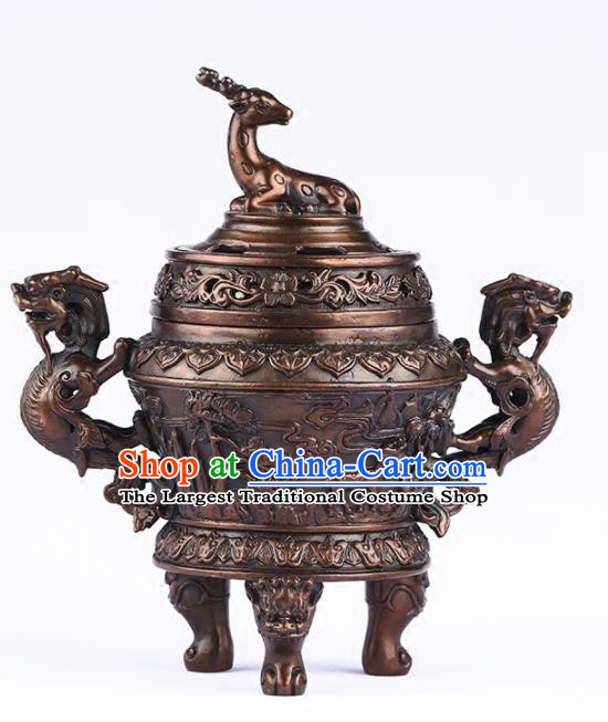 Chinese Traditional Bronze Deer Incense Burner Taoism Bagua Feng Shui Items Censer Decoration