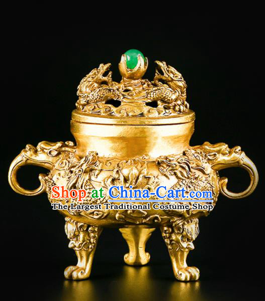 Chinese Traditional Carving Dragons Brass Incense Burner Taoism Bagua Feng Shui Items Censer Decoration