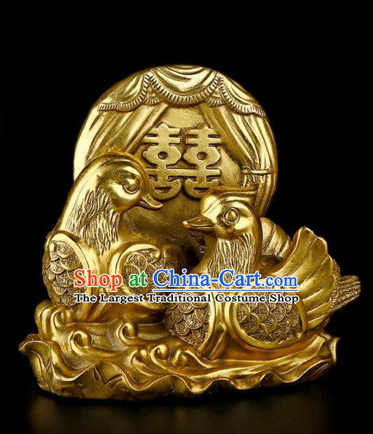 Chinese Traditional Feng Shui Items Taoism Bagua Brass Mandarin Duck Decoration