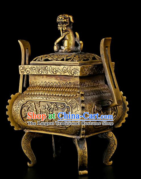 Chinese Traditional Carving Peony Brass Incense Burner Taoism Bagua Feng Shui Items Censer Decoration