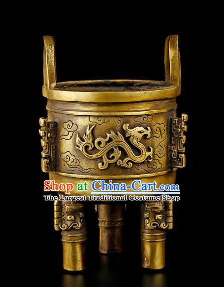 Chinese Traditional Carving Brass Incense Burner Taoism Bagua Feng Shui Items Censer Decoration