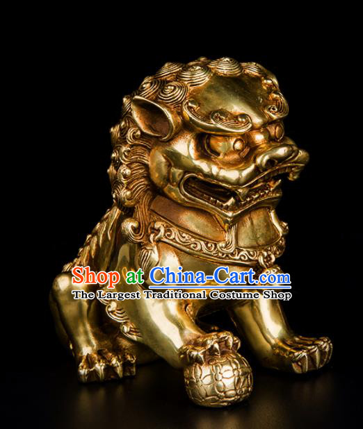 Chinese Traditional Feng Shui Items Taoism Brass Lions Bagua Decoration