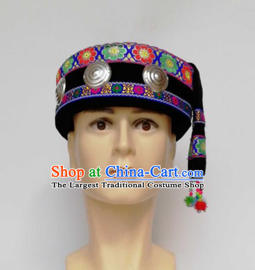Chinese Traditional Ethnic Headwear Yao Nationality Bridegroom Black Hat for Men
