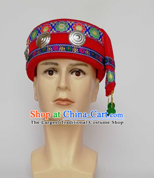 Chinese Traditional Ethnic Headwear Yao Nationality Bridegroom Red Hat for Men