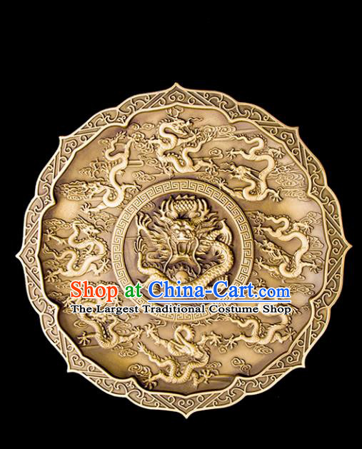 Chinese Traditional Feng Shui Items Taoism Carving Dragons Brass Bagua Decoration