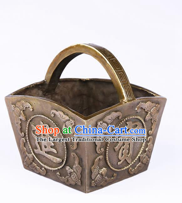 Chinese Traditional Feng Shui Items Buddhism Brass Bucket Decoration