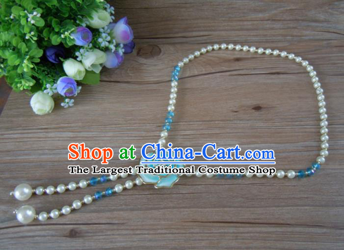 Chinese Traditional Ethnic Jewelry Accessories Blue Rose Tassel Necklace for Women
