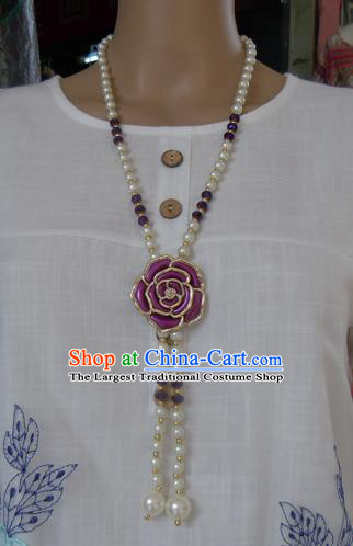 Chinese Traditional Ethnic Jewelry Accessories Purple Rose Tassel Necklace for Women
