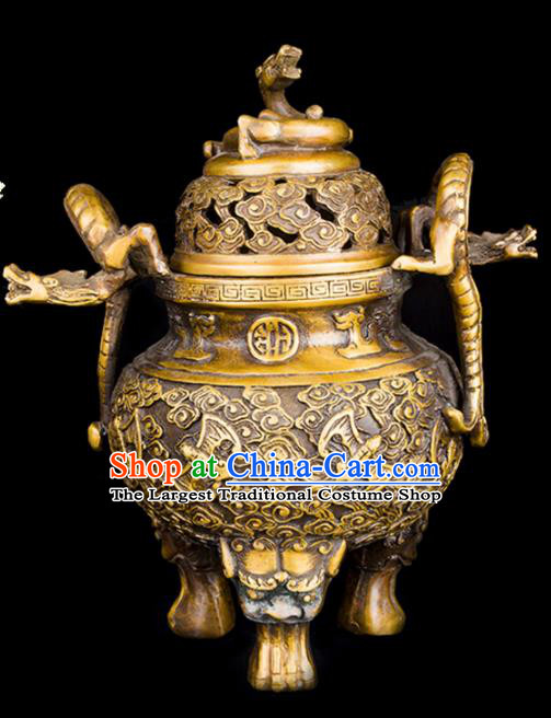 Chinese Traditional Taoism Bagua Carving Bats Dragon Brass Incense Burner Feng Shui Items Censer Decoration