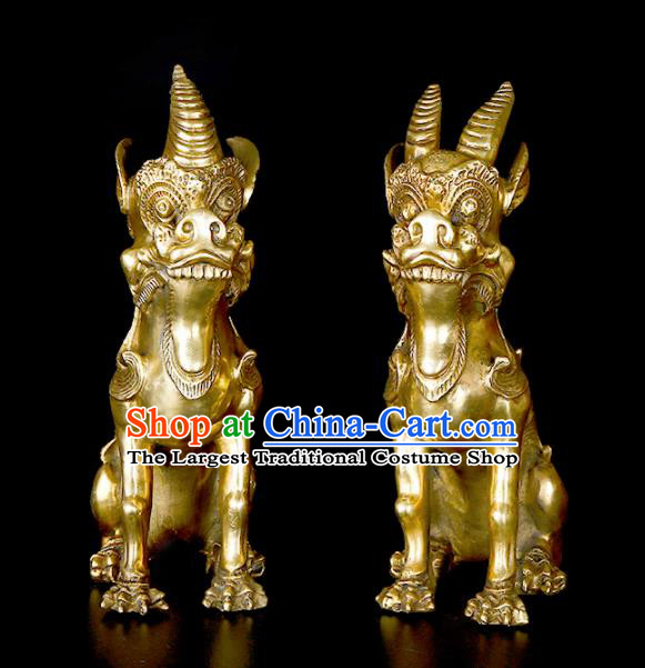 Chinese Traditional Feng Shui Items Taoism Bagua Brass Unicorn Single Horn Kylin Decoration