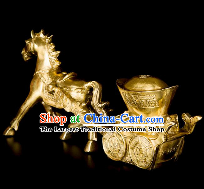 Chinese Traditional Feng Shui Items Taoism Bagua Brass Horse Decoration