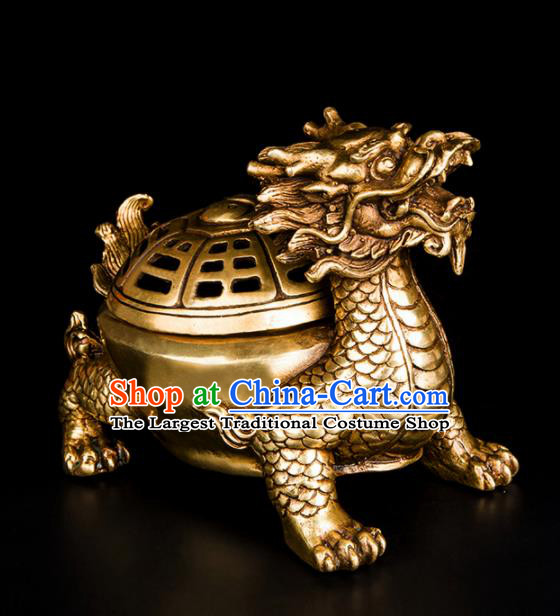 Chinese Traditional Feng Shui Items Bagua Dragon Censer Decoration Taoism Bronze Incense Burner