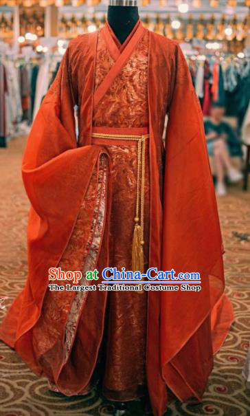 Traditional Chinese Drama Swordsman Wedding Red Hanfu Clothing Ancient Prince Knight Replica Costume for Men