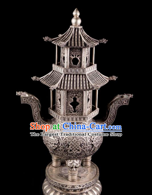 Chinese Traditional Taoism Bagua Cupronickel Tower Incense Burner Feng Shui Items Censer Decoration