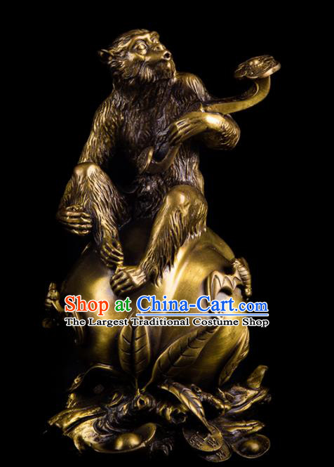 Chinese Traditional Feng Shui Items Taoism Bagua Brass Monkey Decoration