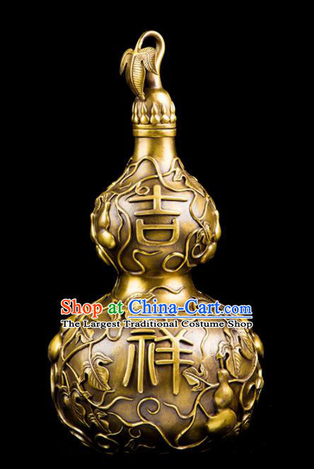 Chinese Traditional Feng Shui Items Taoism Bagua Brass Carving Cucurbit Decoration