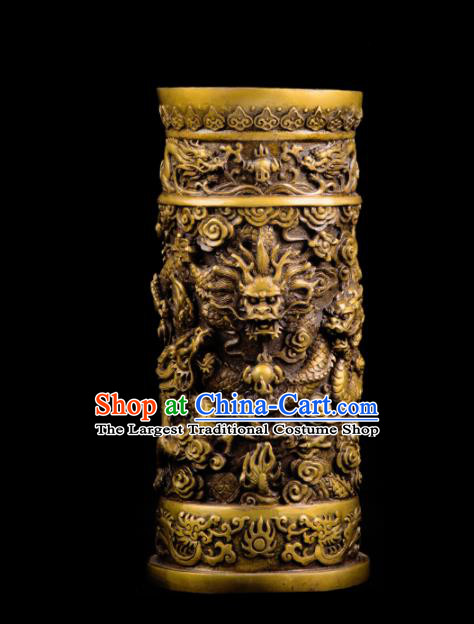 Chinese Traditional Feng Shui Items Taoism Bagua Brass Carving Brush Pot Decoration