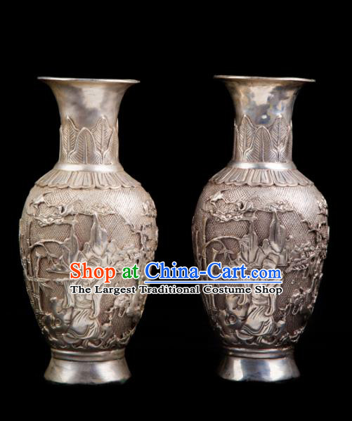 Chinese Traditional Feng Shui Items Taoism Bagua Cupronickel Carving Vase Decoration