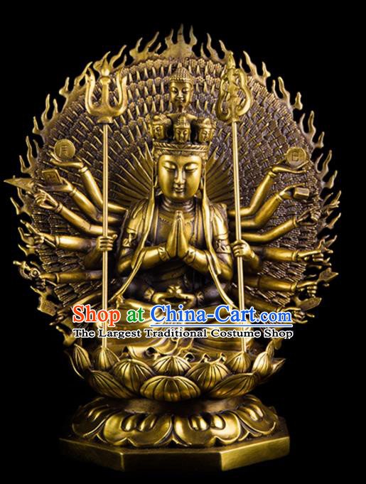 Chinese Traditional Feng Shui Items Taoism Bagua Decoration Thousand Hand Bodhisattva Brass Statue