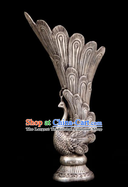 Chinese Traditional Feng Shui Items Taoism Bagua Cupronickel Carving Peacock Vase Decoration