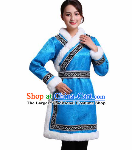 Chinese Traditional Mongolian Ethnic Winter Costumes Mongol Nationality Blue Dress for Women