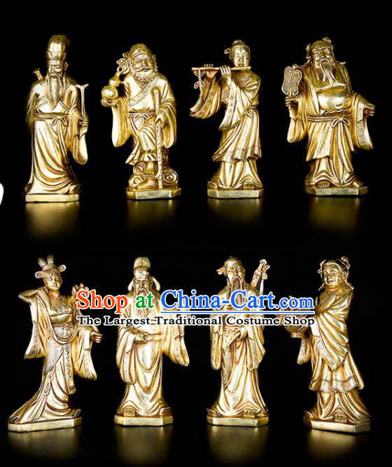 Chinese Traditional Feng Shui Items Taoism Brass Eight Immortals Crossing the Sea Statue Decoration
