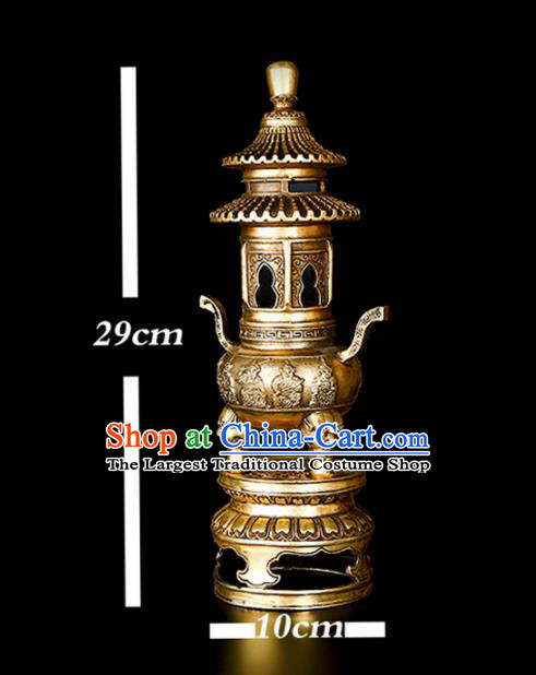 Chinese Traditional Taoism Bagua Brass Tower Incense Burner Feng Shui Items Censer Decoration