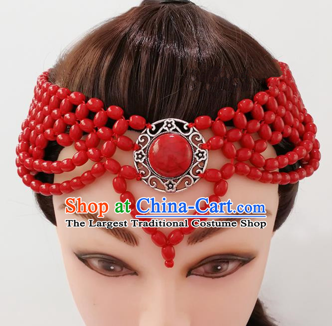 Chinese Traditional Mongolian Ethnic Hair Accessories Mongol Nationality Red Beads Hair Clasp for Women