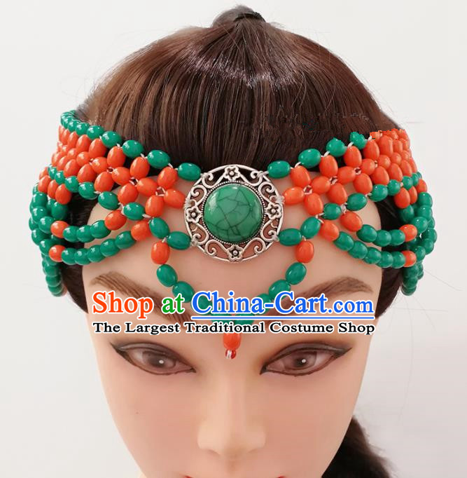 Chinese Traditional Mongolian Ethnic Hair Accessories Mongol Nationality Orange Beads Hair Clasp for Women