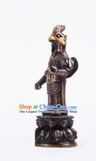 Chinese Traditional Feng Shui Items Taoism Bagua Brass Chinese Zodiac Cock Statue Decoration